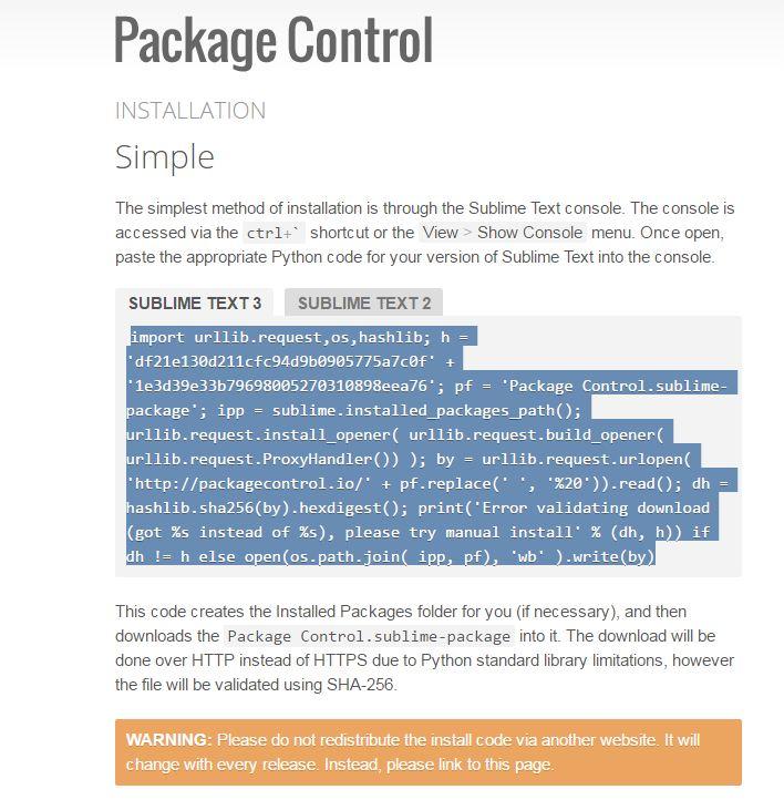 Cài đặt package control